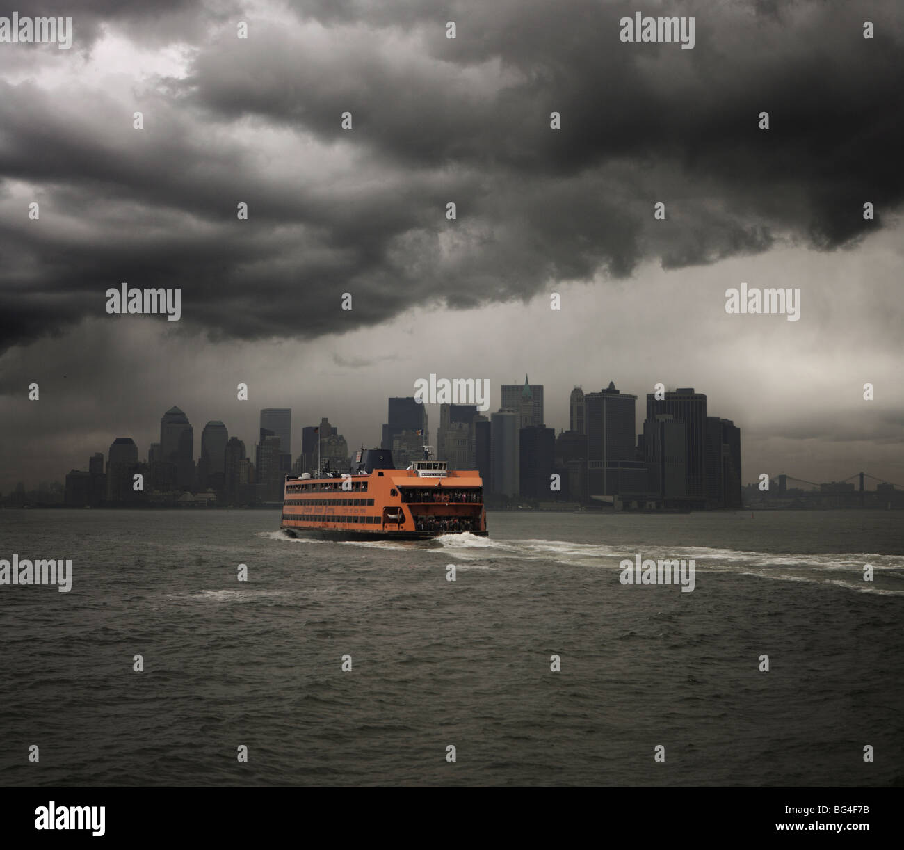 Staten Island ferry sailing towards Manhattan, New York, United States of America, North America - Stock Image