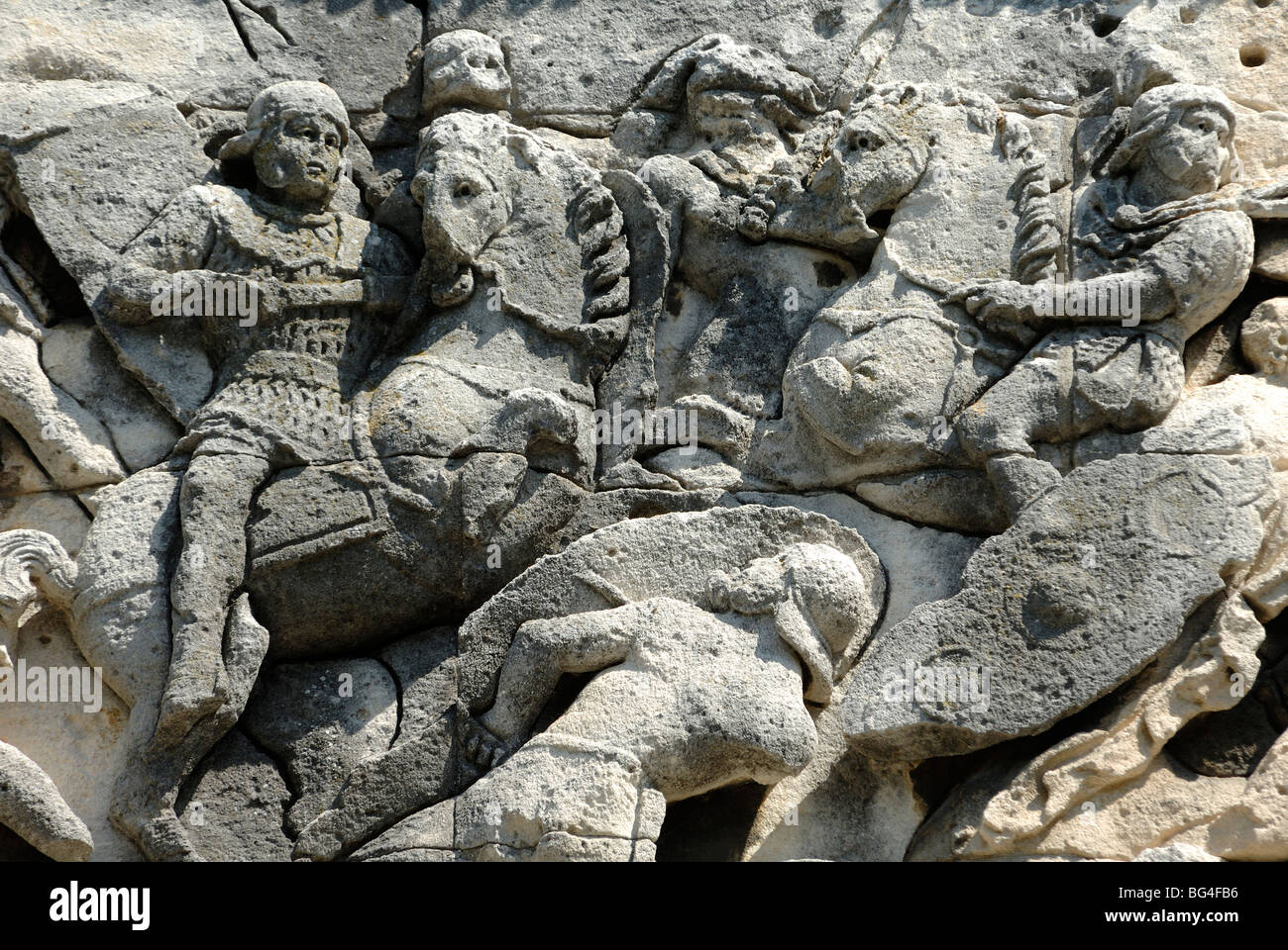Roman & Gallic Soldiers in Battle Scene on Roman Arc de Triomphe  or Triumphal Arch (c20BC), Orange, Provence, - Stock Image
