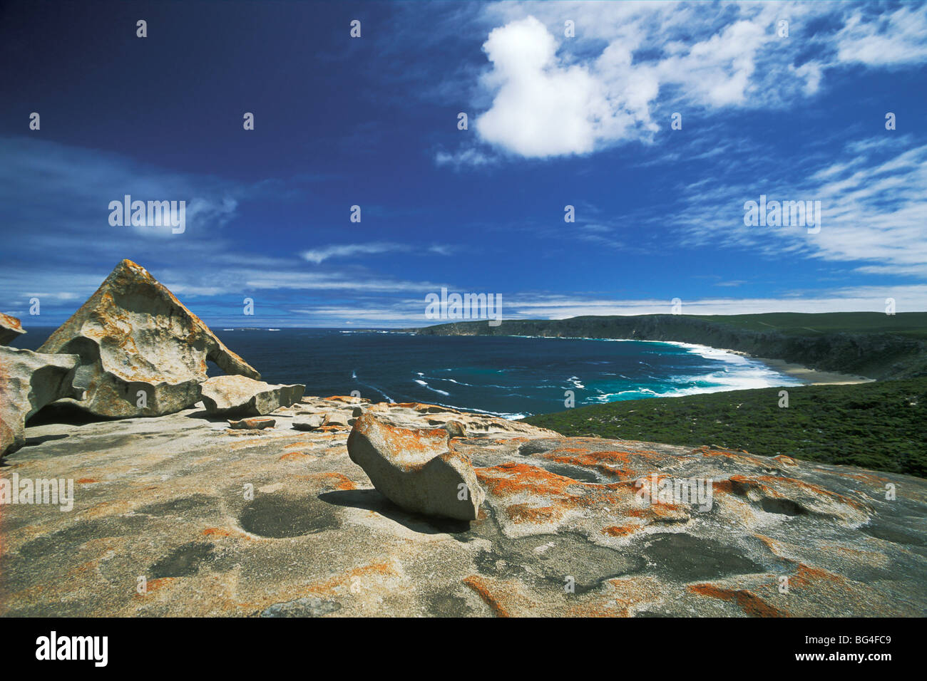 The Remarkable Rocks, layer remnants on granite dome, Flinders Chase National Park, Kangaroo Island, South Australia, - Stock Image