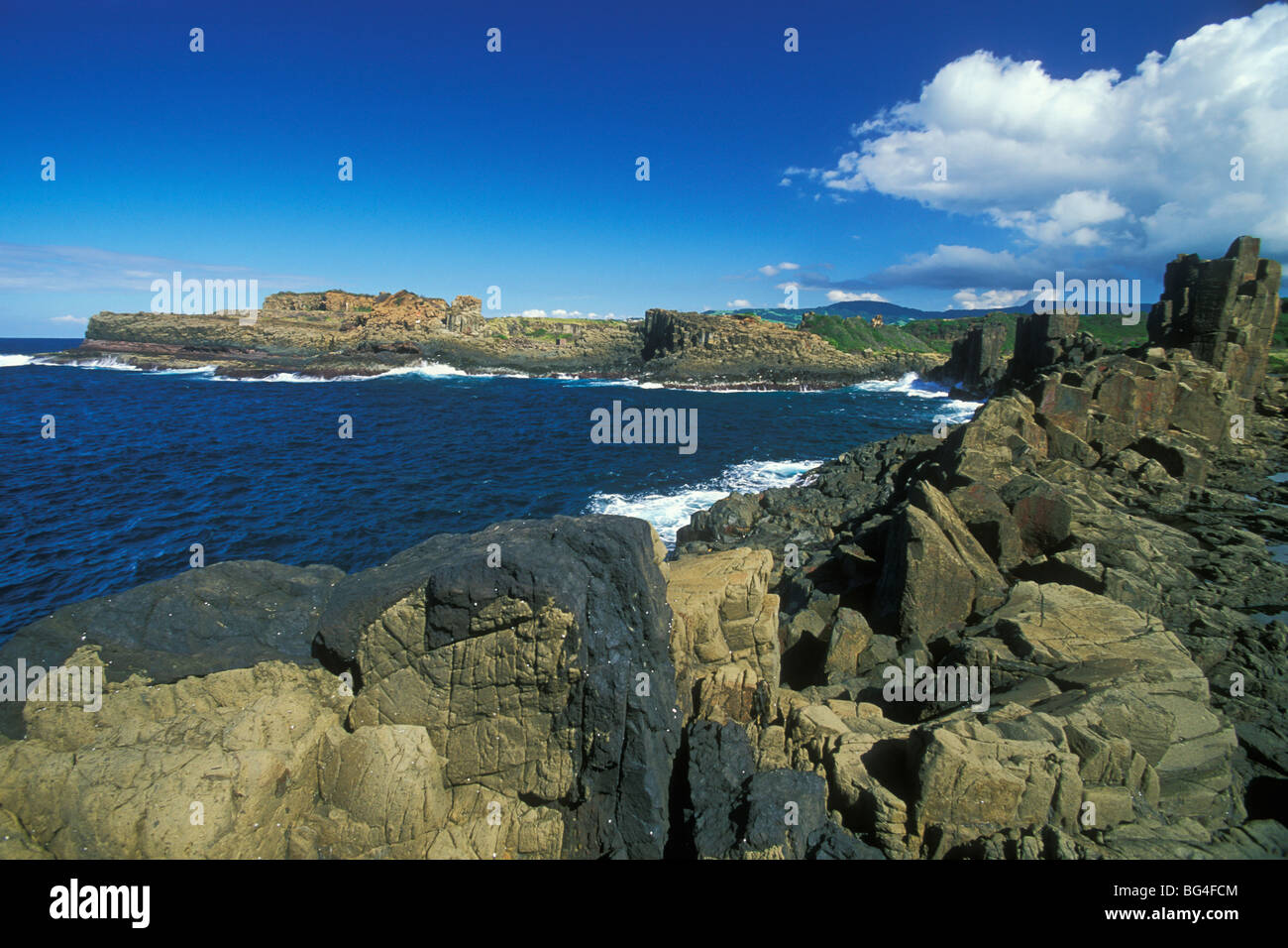 Columnar structures, created during cooling of basalt lava, near Bombo Beach, Kiama, south coast, New South Wales, - Stock Image
