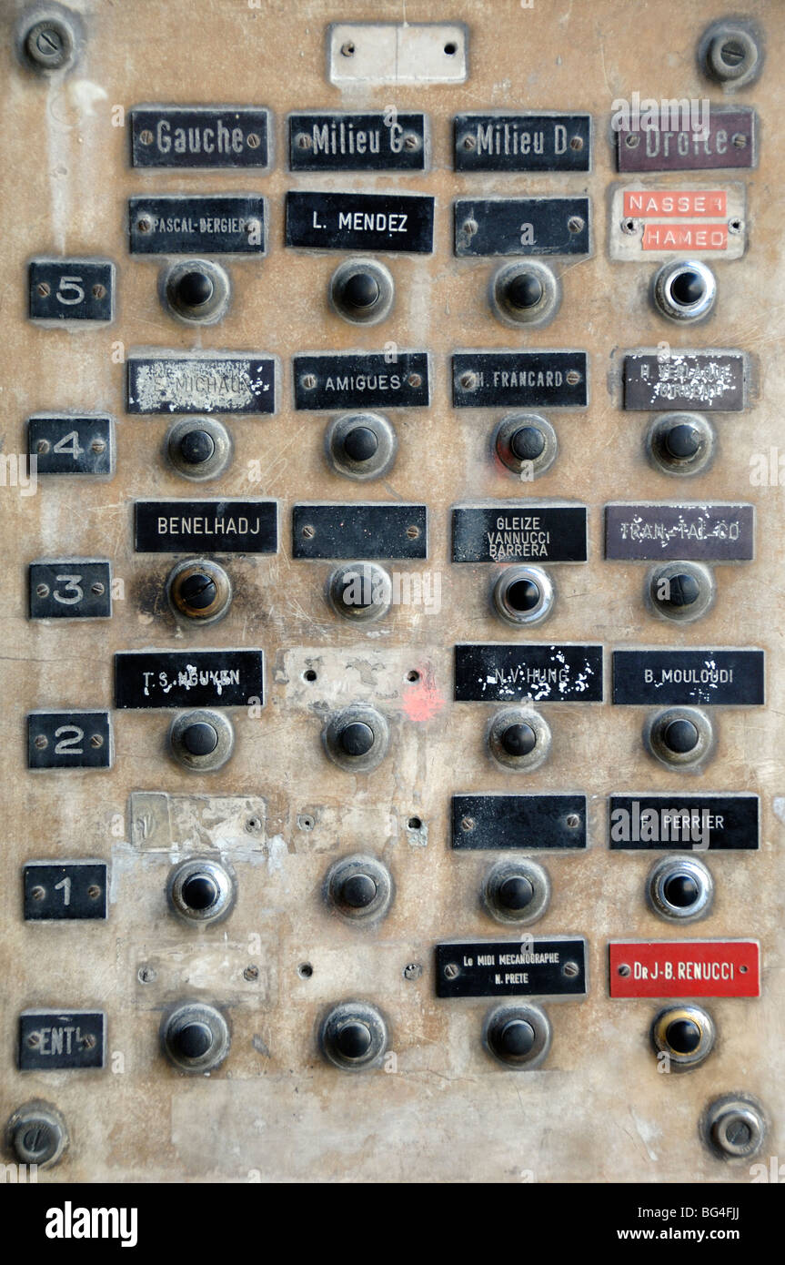 Apartment Door Bells or Buzzers & Name Tags, Rue de la Republique, Marseille or Marseilles, Provence, France - Stock Image