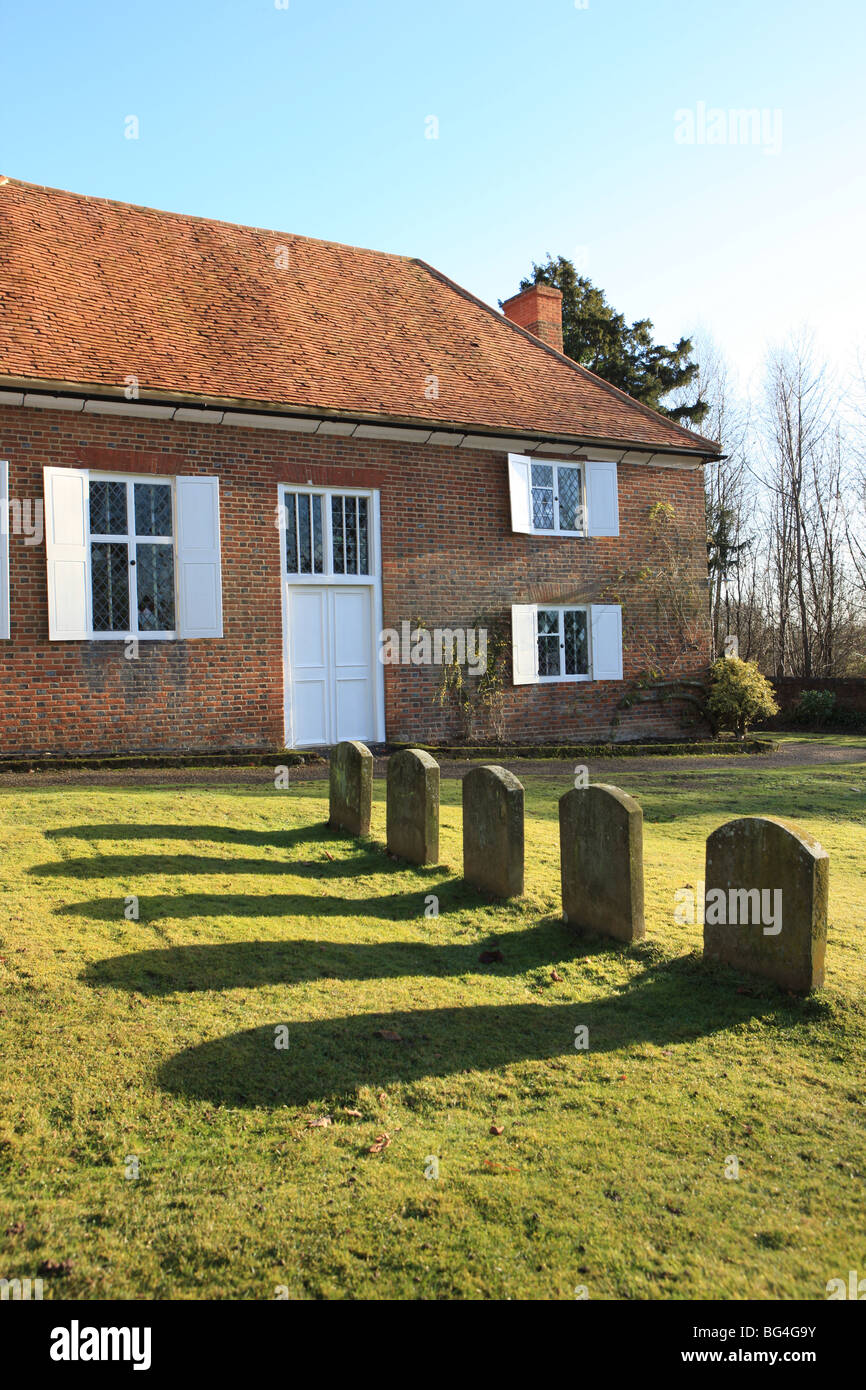 The Quaker Meeting House at Jordan's with the grave of William Penn the founder of Pennsylvania,America. Stock Photo