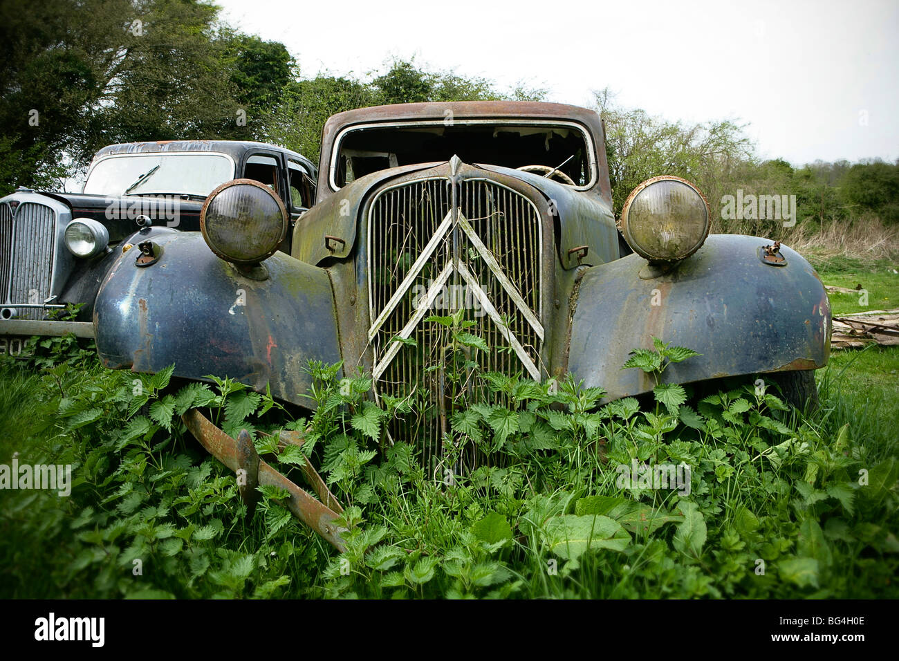 Abandoned classic Citroen Traction Avant car - Stock Image