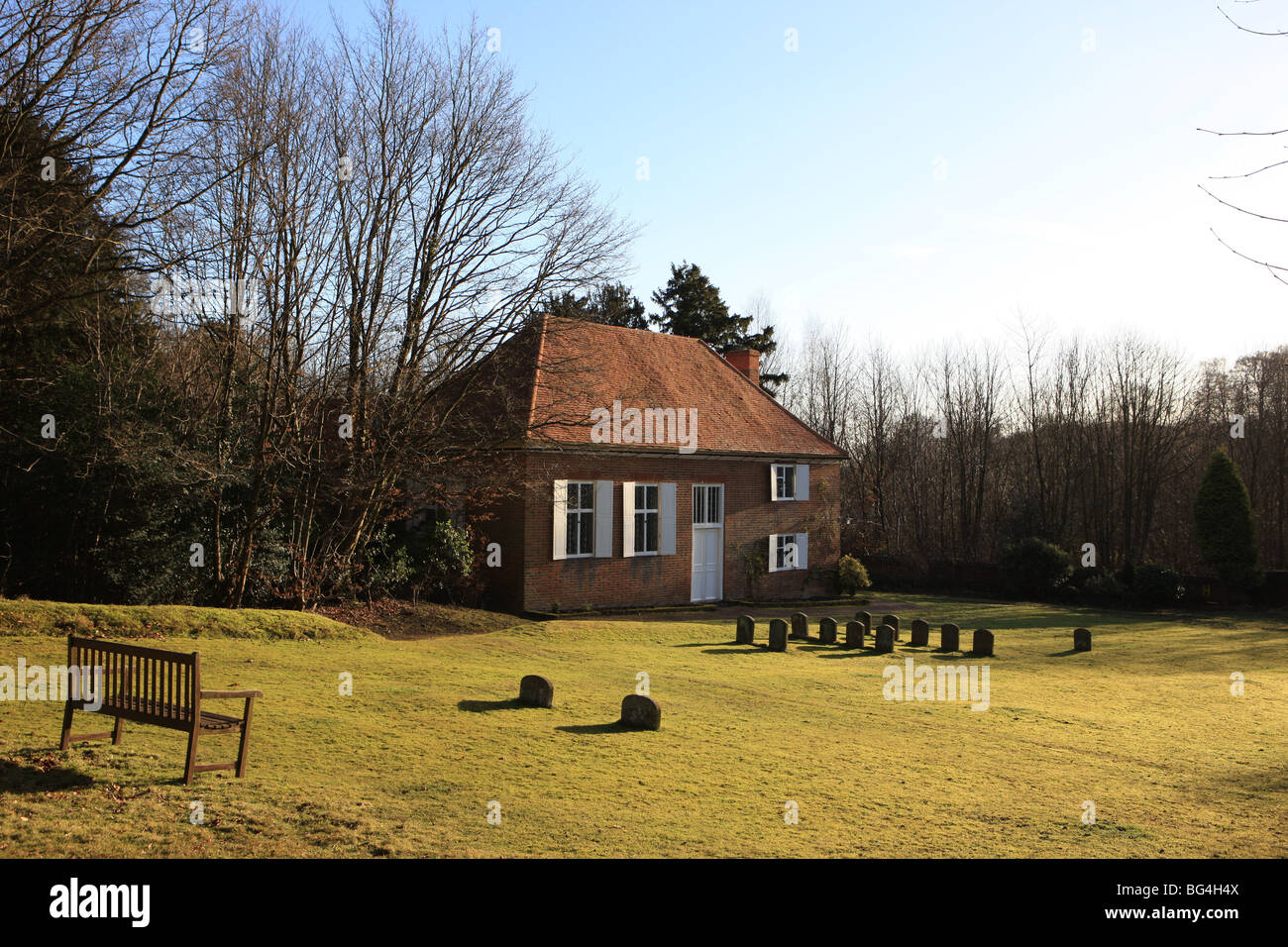 The Quaker Meeting House at Jordan's with the grave of William Penn the founder of Pennsylvania,America Stock Photo