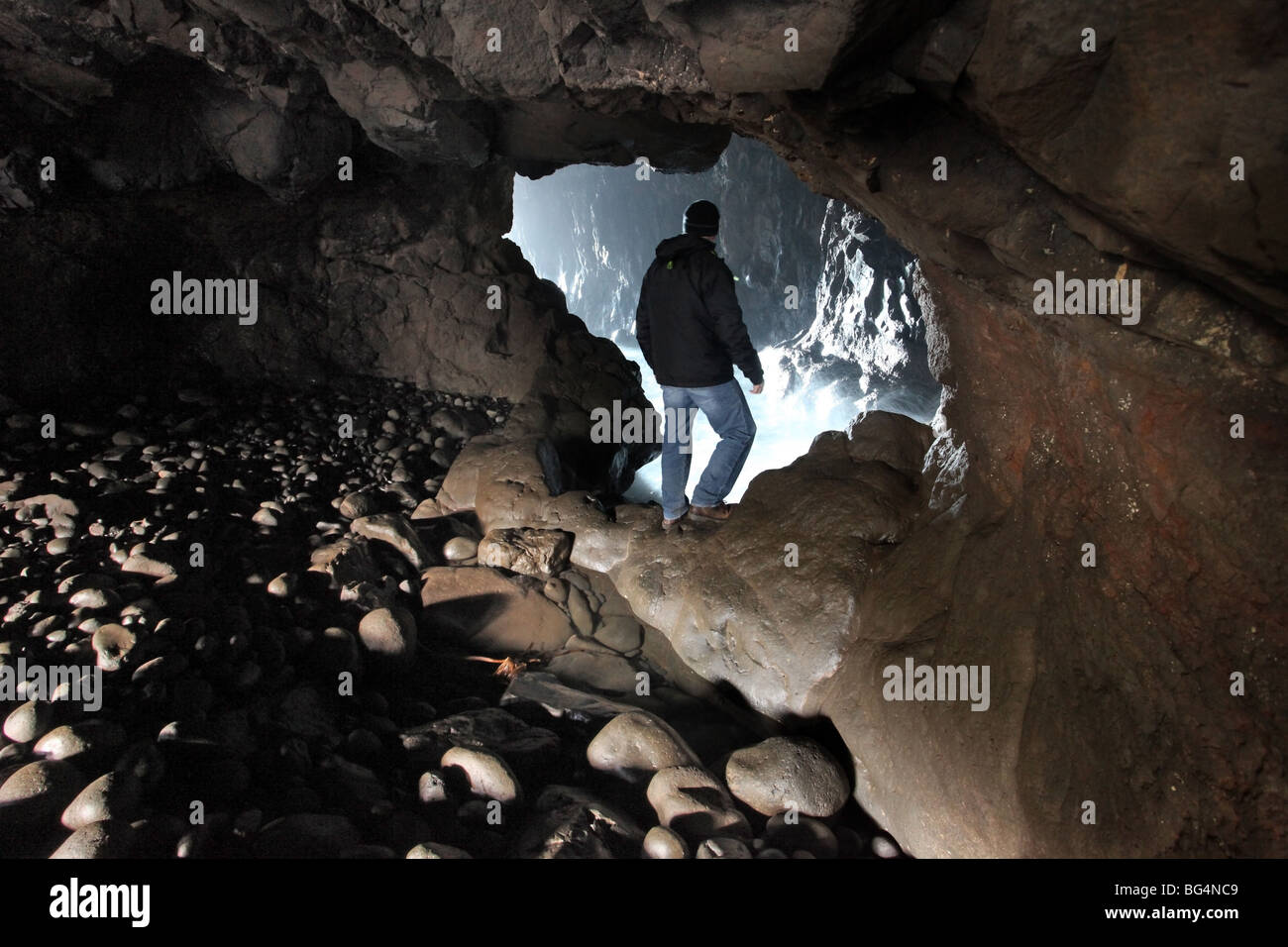 Portcoon cave, Giant's Causeway, County Antirm Stock Photo
