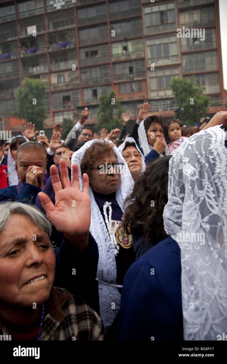The Senor de Milagros, or Lord of Miracles Procession, in Lima, Peru. The festival celebrates a revered image of Stock Photo