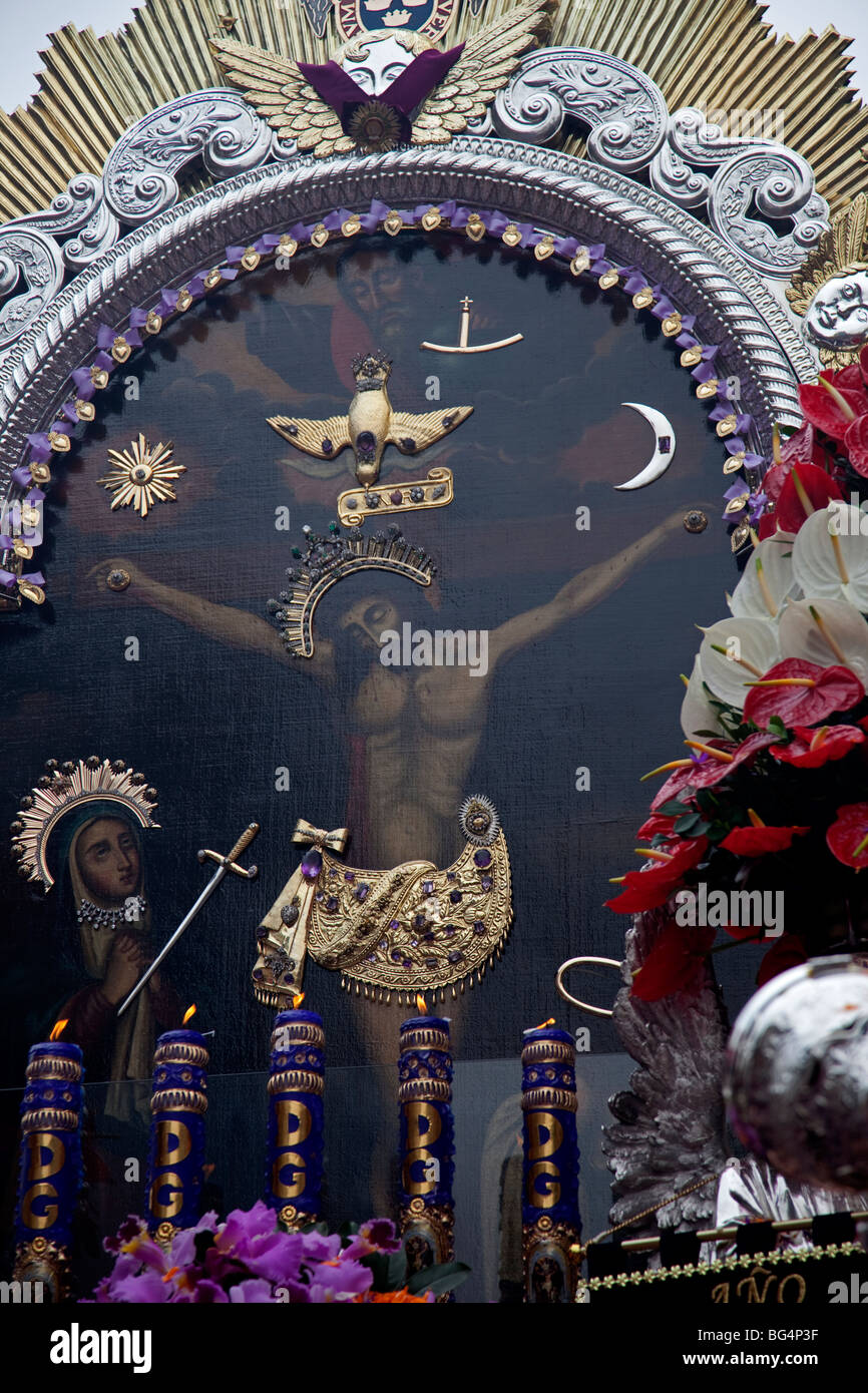 The Senor de Milagros, or Lord of Miracles Procession, in Lima, Peru. The festival celebrates a revered image of - Stock Image