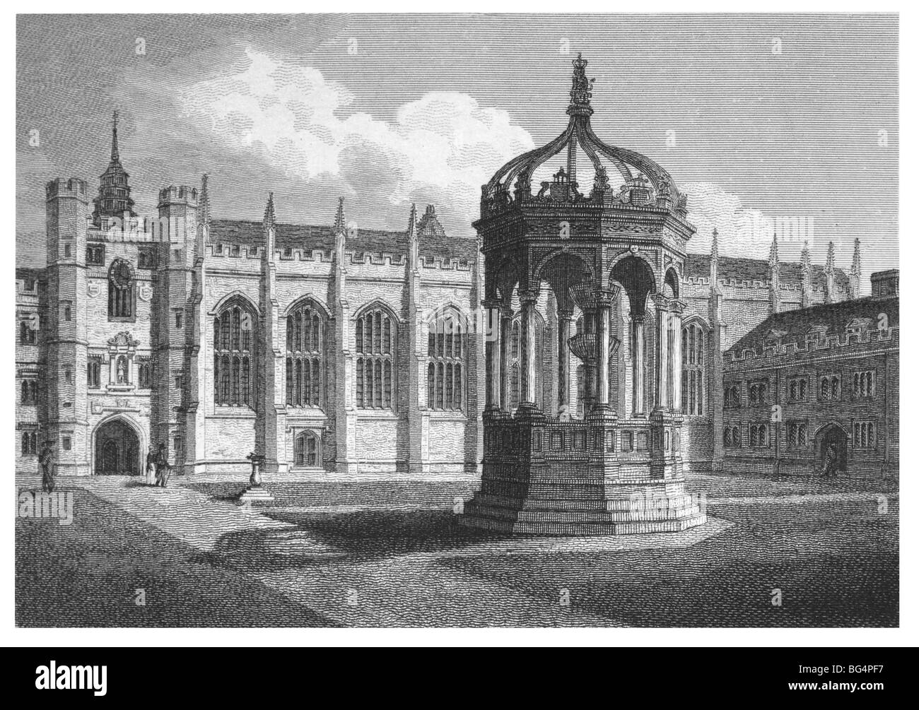 Trinity College, Cambridge – Great Court, with Fountain and Chapel - Stock Image