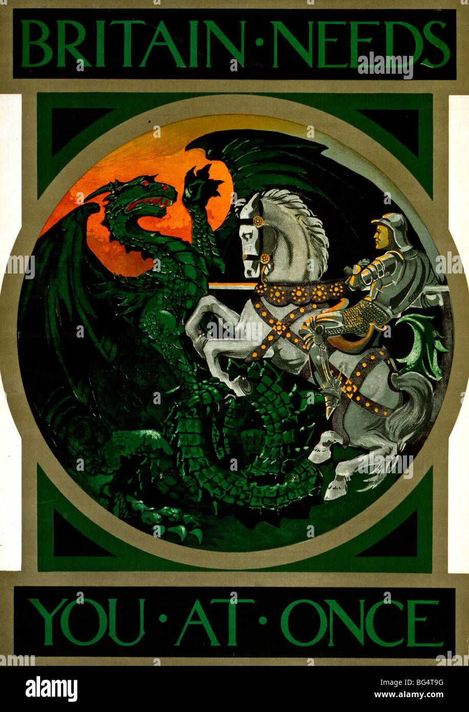 Britain needs you at once - World War I Poster showing St. George slaying the dragon - Stock Image