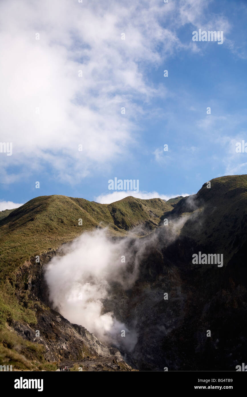Steaming fumaroles at Siaoyoukeng in Yangmingshan National Park, Taipei, Taiwan ROC - Stock Image