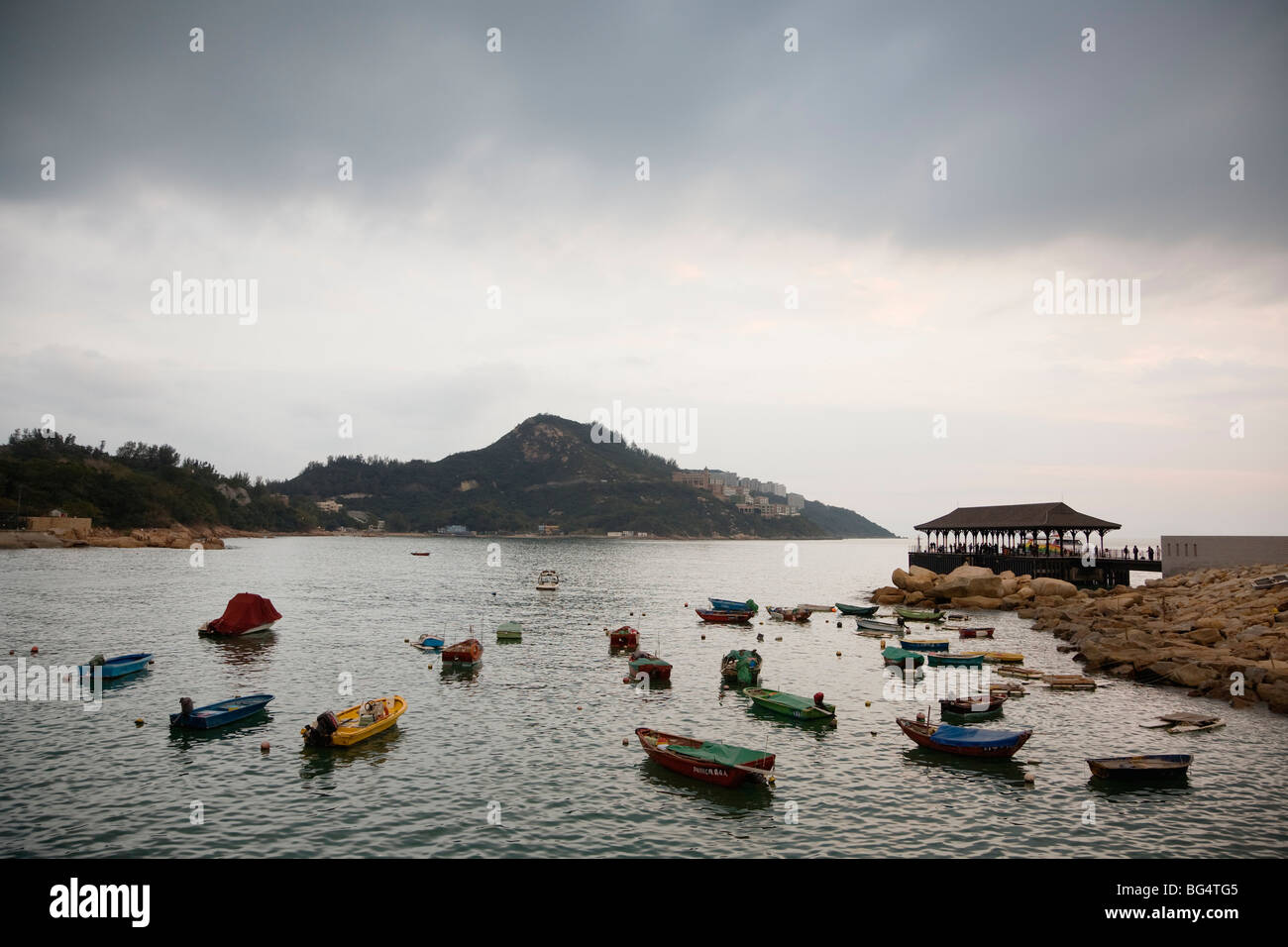 Boats docked at Stanley, Hong Kong, China Stock Photo