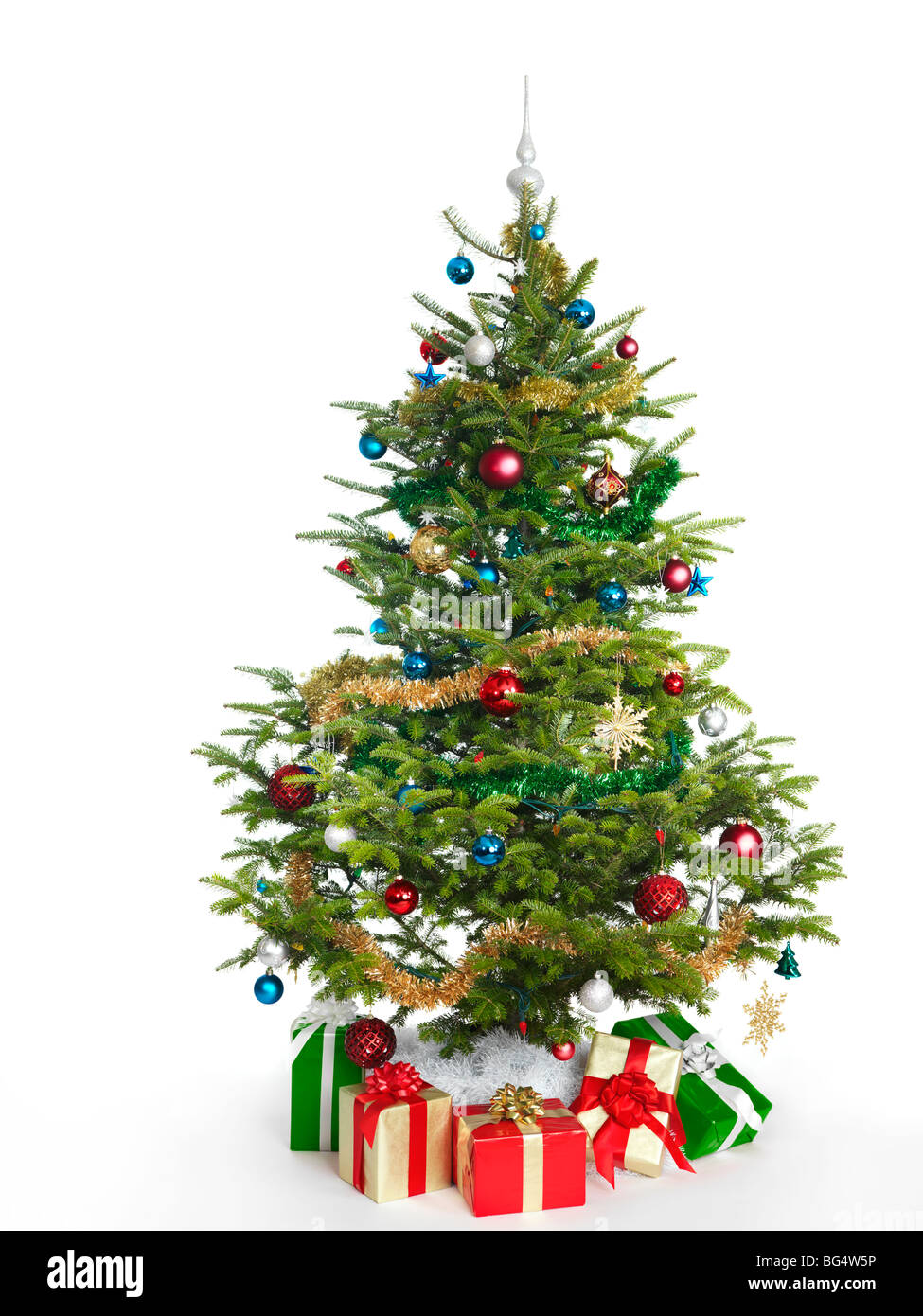 decorated real christmas tree isolated on white background stock image - How Long Do Real Christmas Trees Last