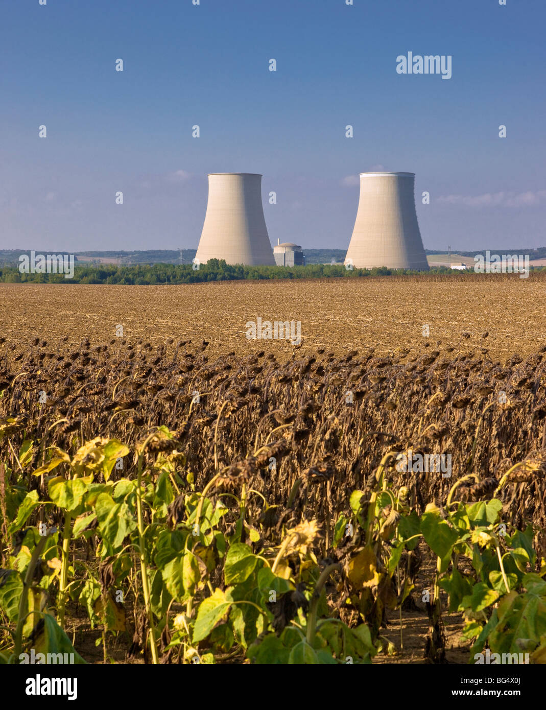 The cooling towers of the nuclear power plant at Nogent-sur-Seine, a town near Paris, France Stock Photo