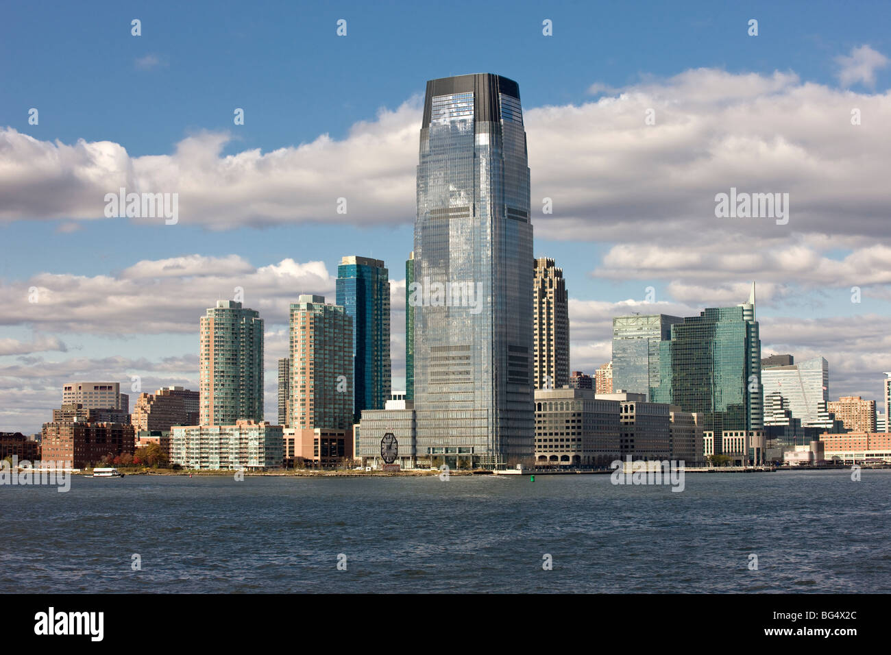 Jersey City, New Jersey, seen from the harbor of New York City, New York, USA - Stock Image