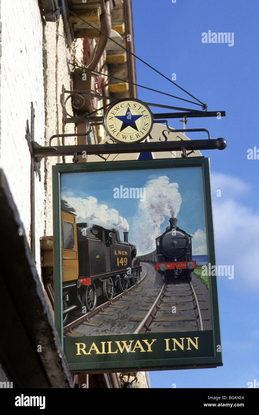 Classical pub sign near Morpeth in northeast England. - Stock Image