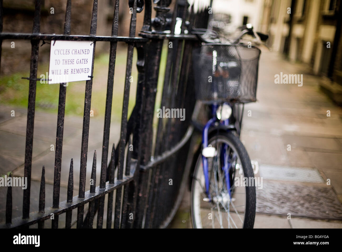 bicycles chained to a fence with warning sign that they will be removed in the university city of Cambridge in England - Stock Image