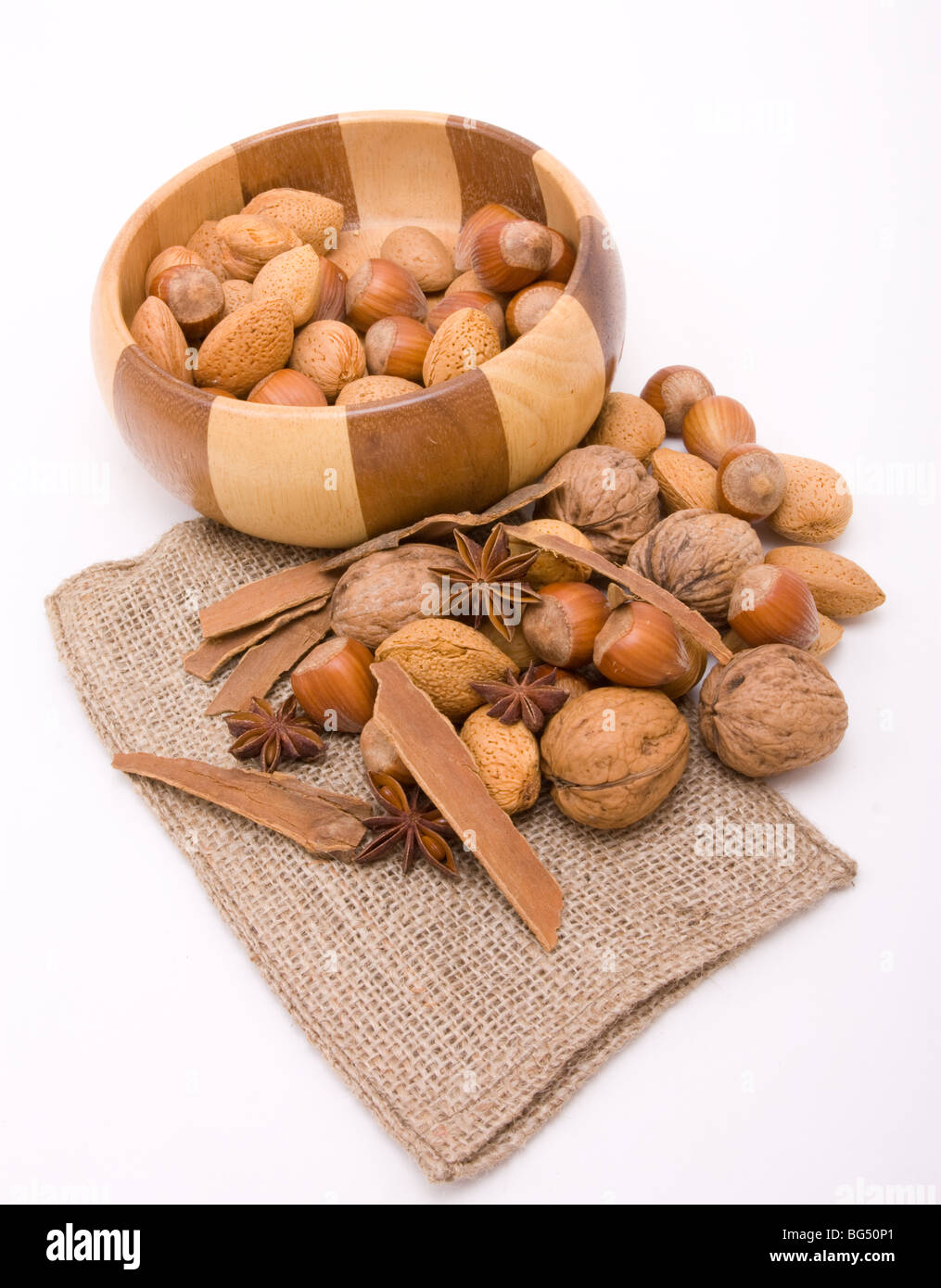 Festive Mixed Nuts with winter spices of Star Anise and Cinnamon. - Stock Image
