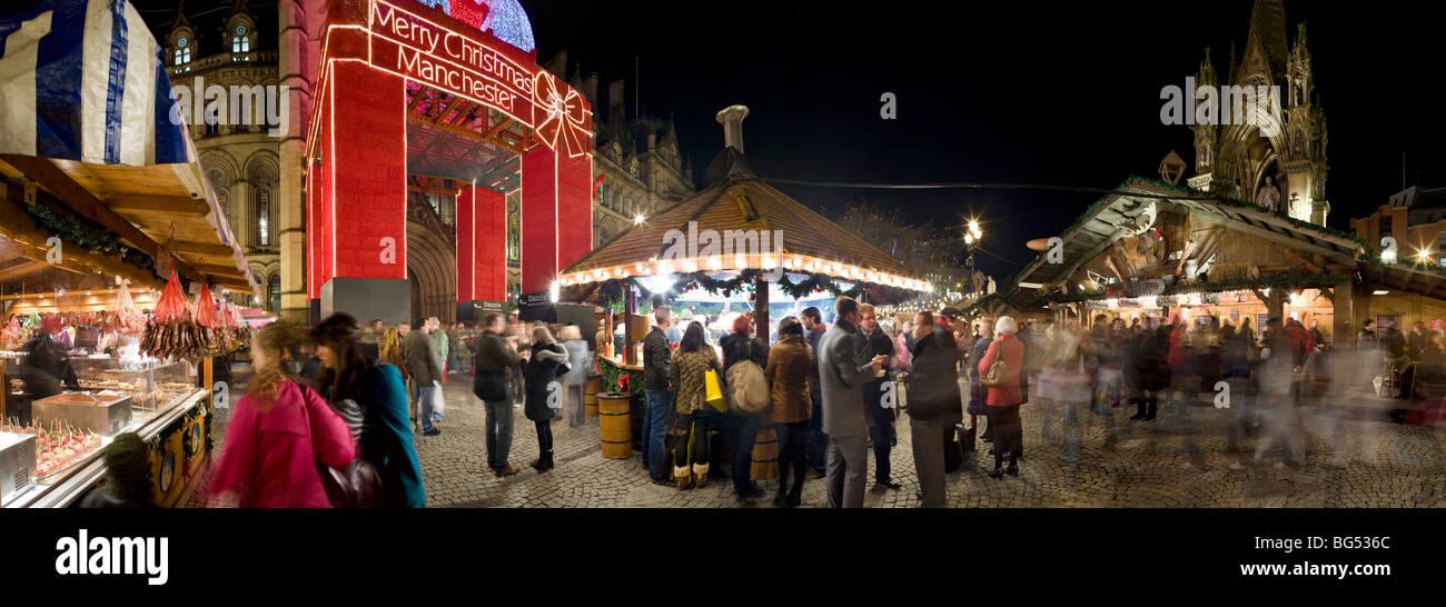 Christmas market, Albert Square, Manchester UK - Stock Image