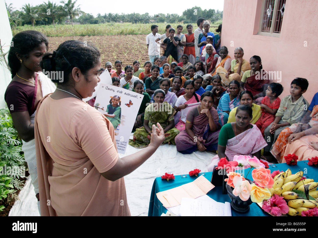India: Health awareness program of Roman Catholic sisters in a village in Tamil Nadu State - Stock Image
