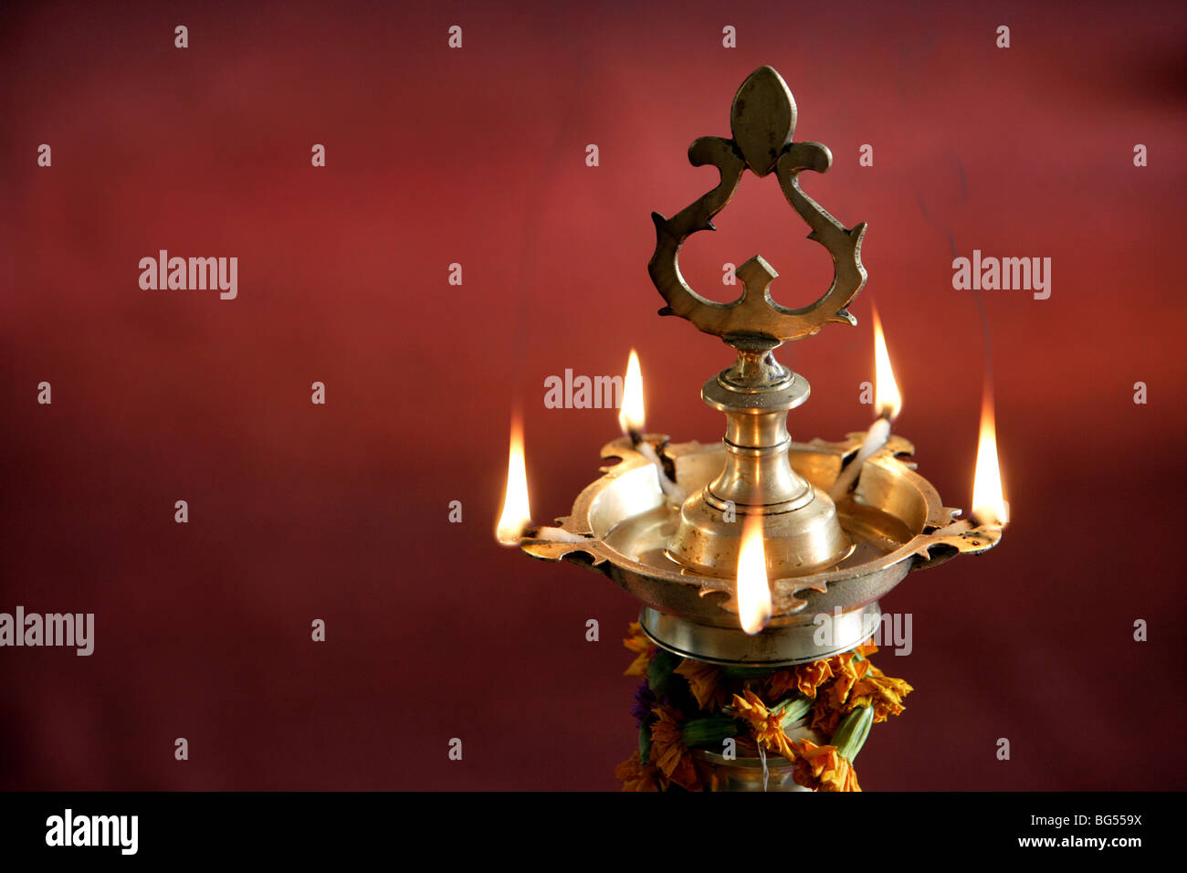Oil candle, sacred flame, India - Stock Image