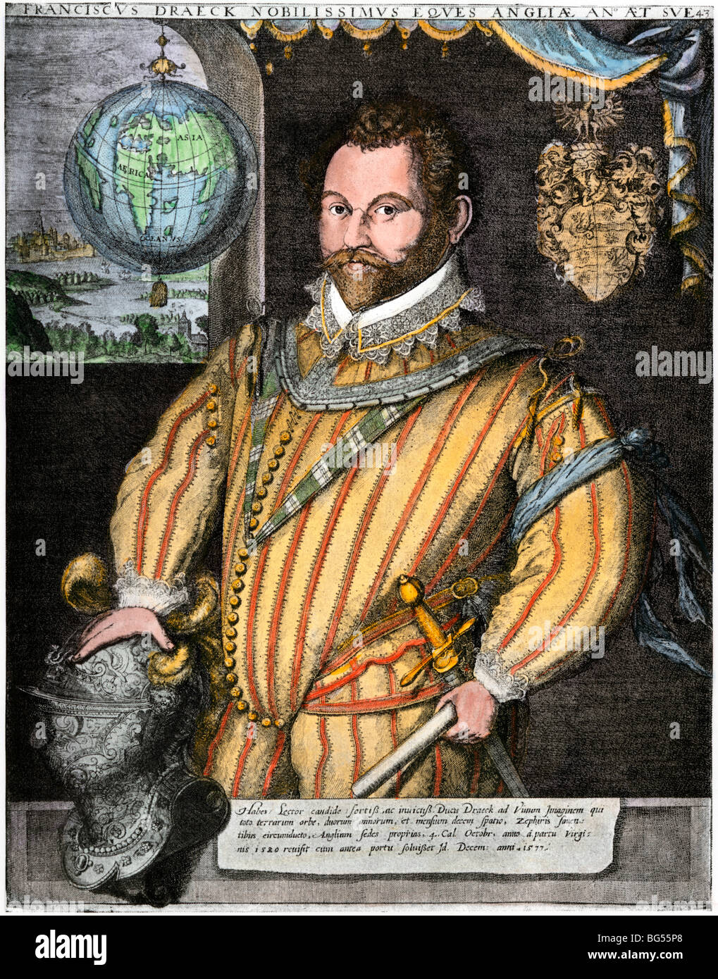 Admiral Francis Drake, first Englishman to sail around the world. Hand-colored woodcut - Stock Image