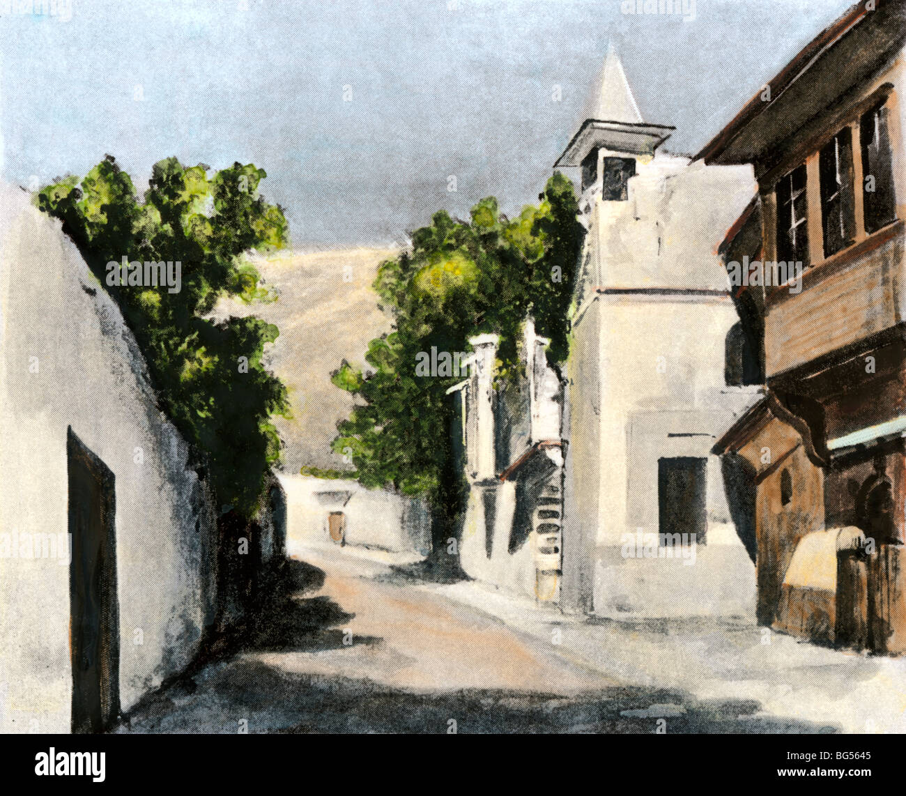 Home of Sir Richard Burton and his wife in Salahiyeh, Syria, near Damascus, 1800s. Hand-colored halftone of an illustration - Stock Image