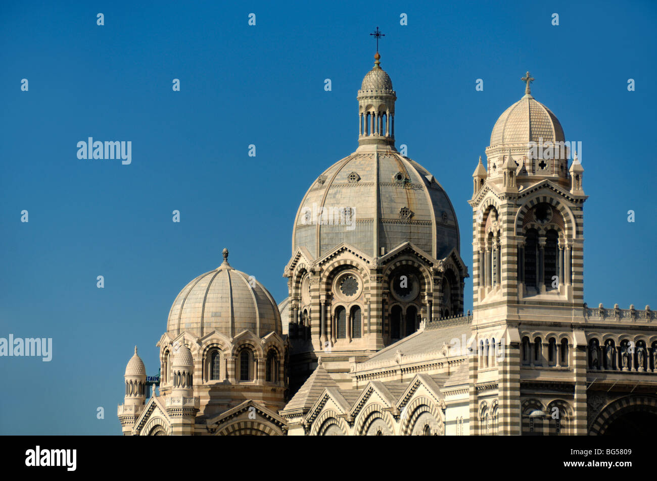 Domes & Cupolas of the Romano-Byzantine Style Cathedral or Cathédrale de la Major, Marseille or Marseilles, - Stock Image