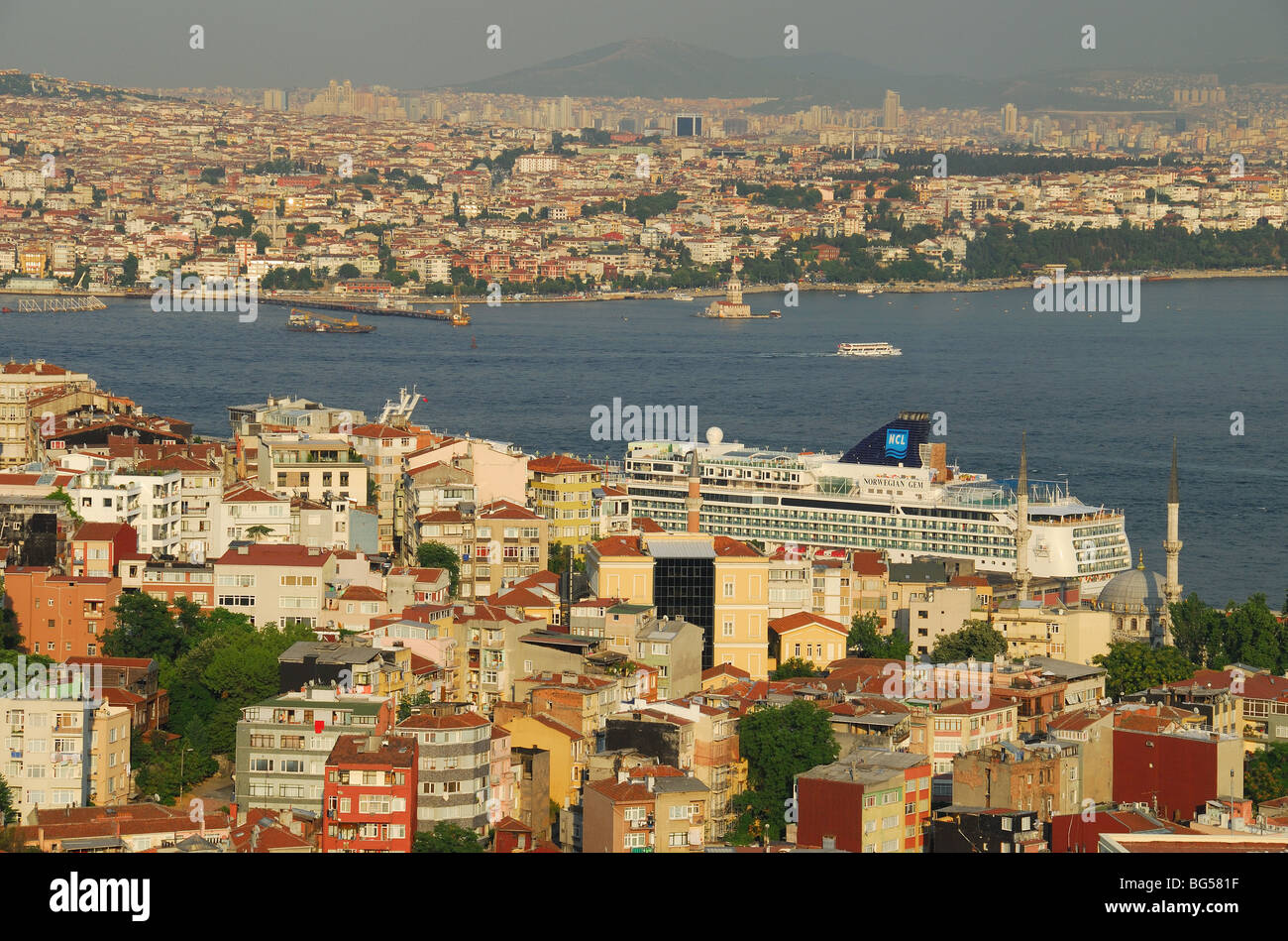 ISTANBUL, TURKEY. A view across the Bosphorus, from the European shore to Uskudar on the Asian shore of the city. - Stock Image