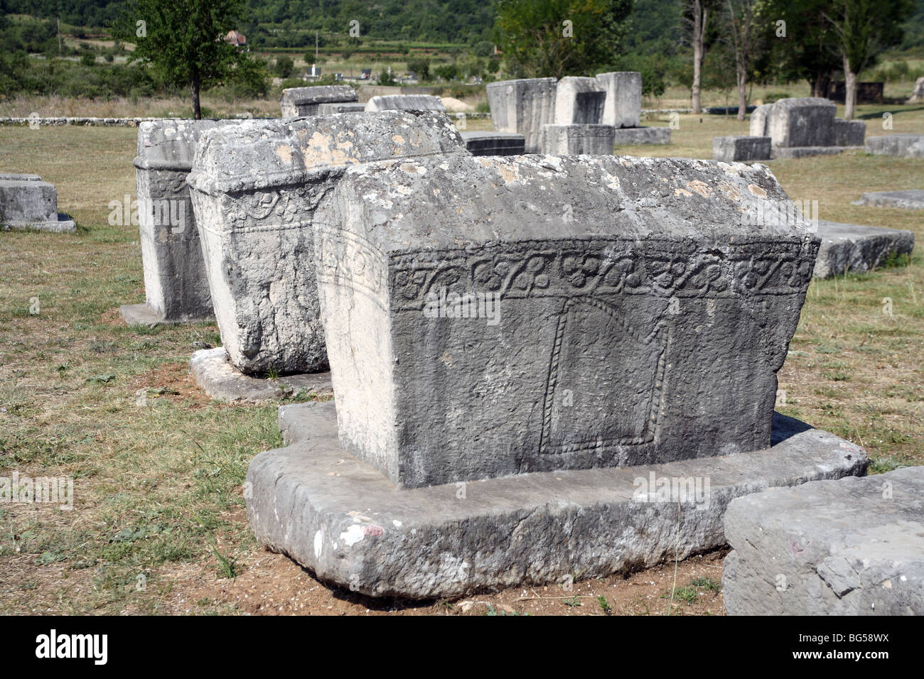 Carved tombstones in Bosnian Medieval necropolis - Stock Image