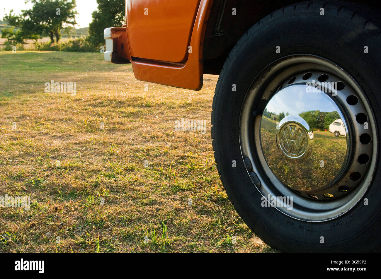 VW campervan at Stoat Farm Campsite, Isle of Wight, UK - Stock Image