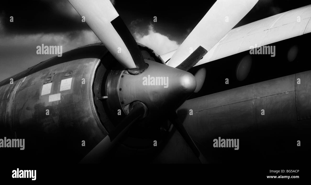 Propeller, Engine Cowling and Fuselage details of an old Airplane in Black and White - Stock Image