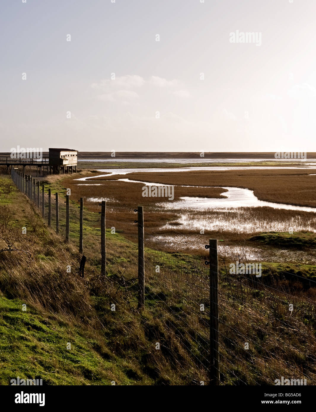 A bird watching hide at Rye Harbour nature reserve in East Sussex.  Photo by Gordon Scammell - Stock Image