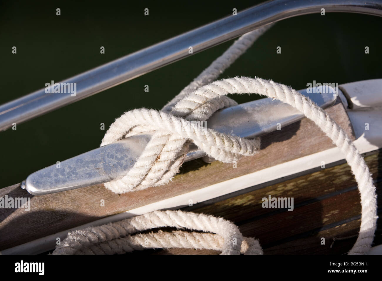 Yacht cleat with mooring rope Stock Photo