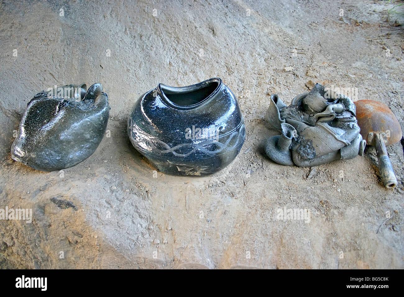 Freeform misshapen earthenware pottery, Shilla Kiln, Kyongju, Korea. Stock Photo