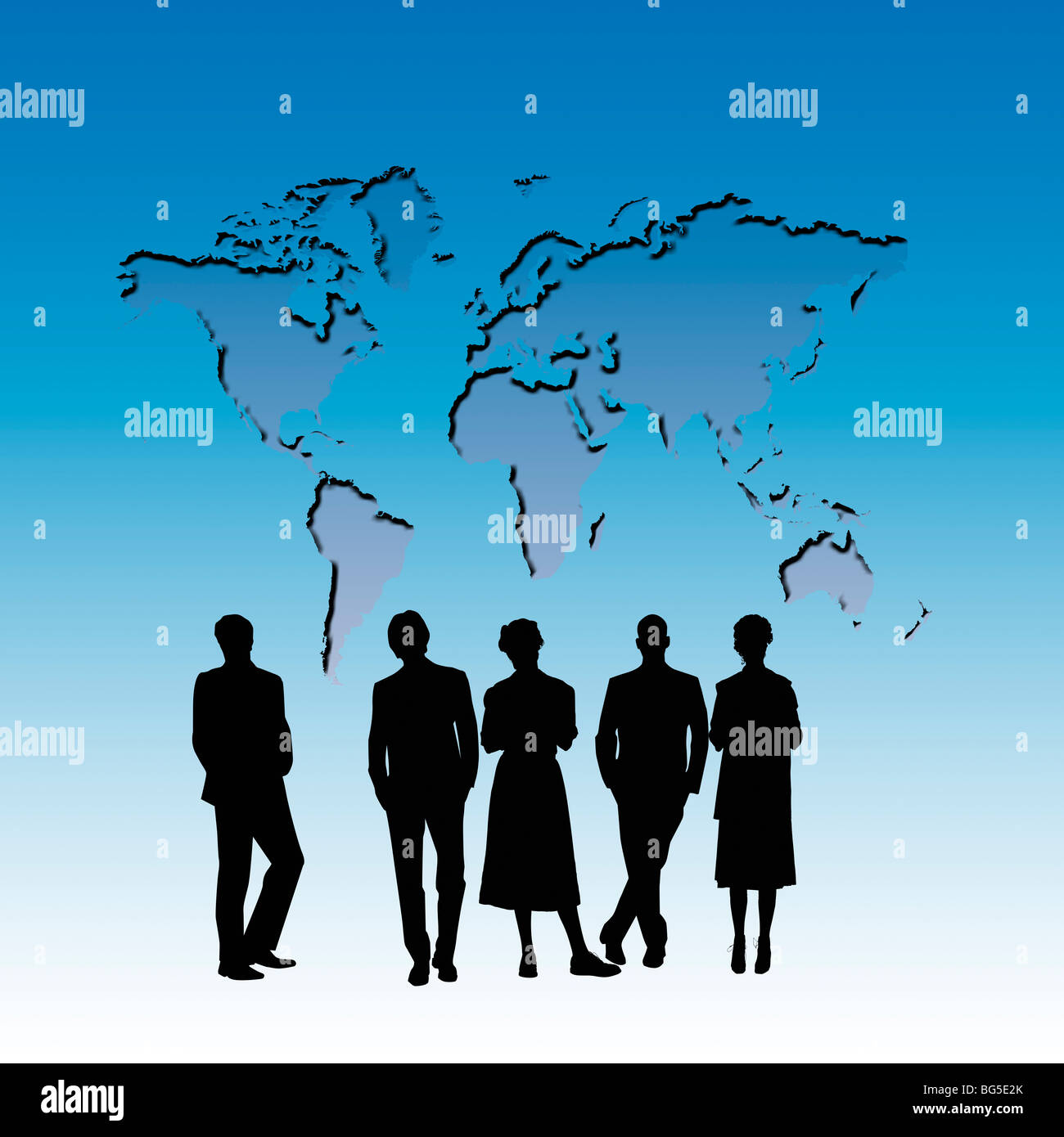Silhouettes Of People Looking At An Outline Of The World Map Stock - World map silhouette poster