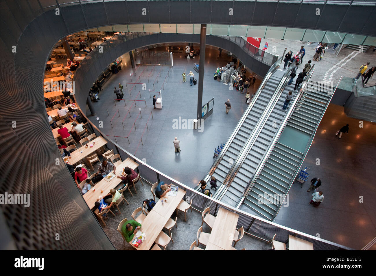 Hall of Zurich Airport, Switzerland, showing Check in, food concourse and shopping area - Stock Image