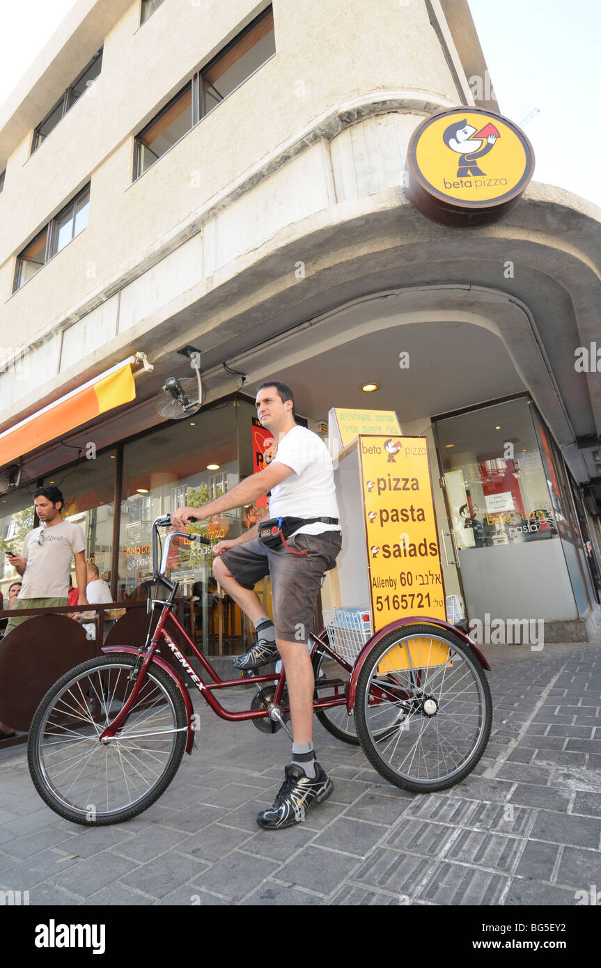 Bicycle Pizza delivery - Stock Image
