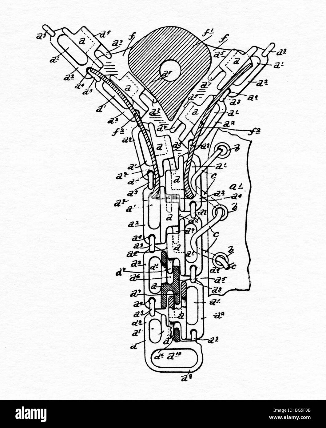 Whitcomb Judson, Zip, 1895 patent for a further refinement of his slide fastener, which developed into the zipper - Stock Image