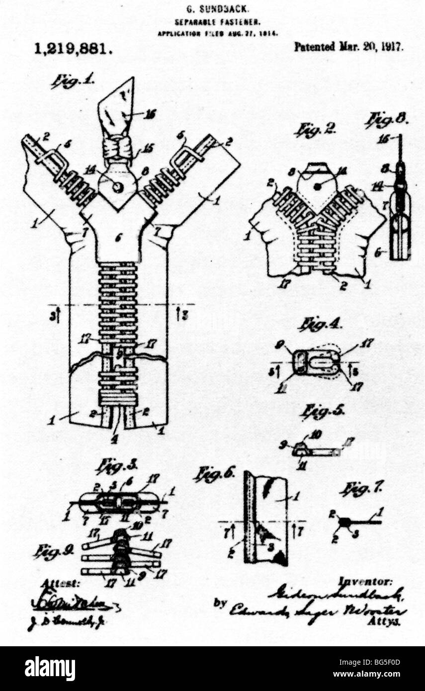 Gideon Sundback, Separable Fastener, 1917 patent for the first commercially viable zipper to fasten clothes - Stock Image