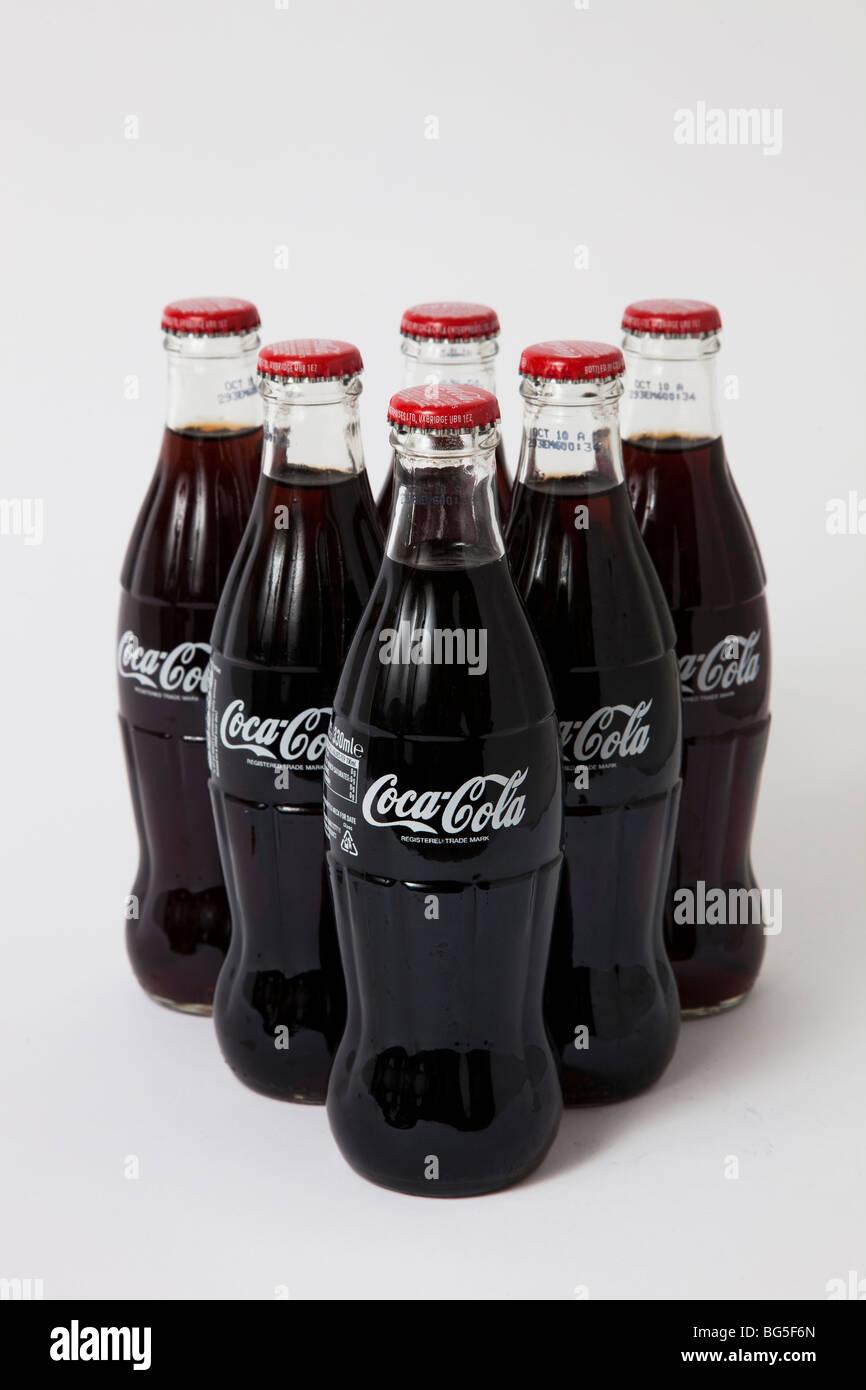 coca cola coke bottles bottle glass - Stock Image
