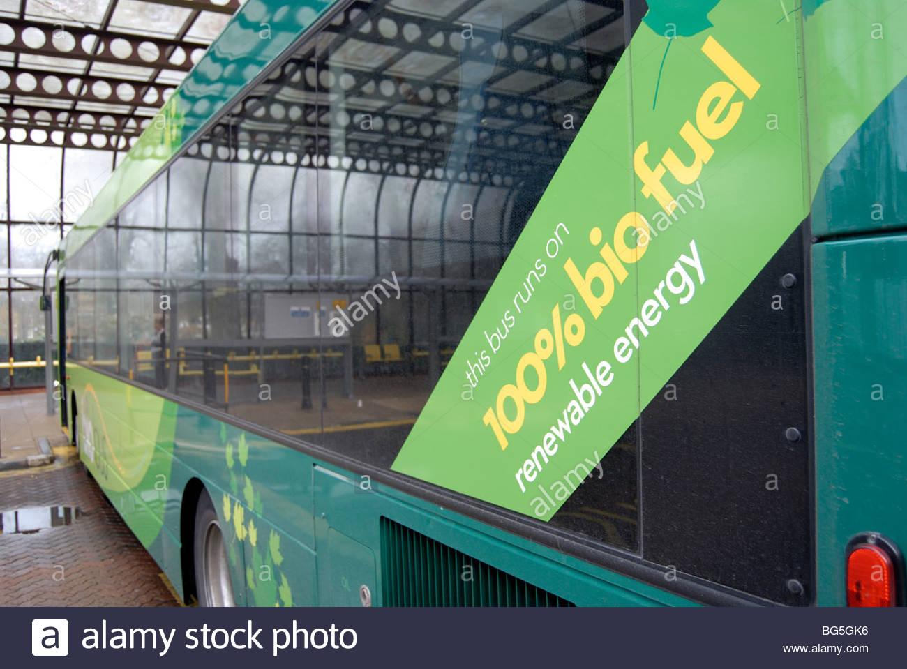 Cambridge UK 2009: Cambridge Bus Station. Stagecoach bus running on bio-fuel. - Stock Image