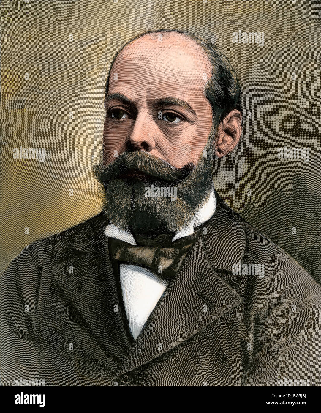 Randolph Henry Spencer Churchill, Member of Parliament, 1890s. Hand-colored woodcut - Stock Image