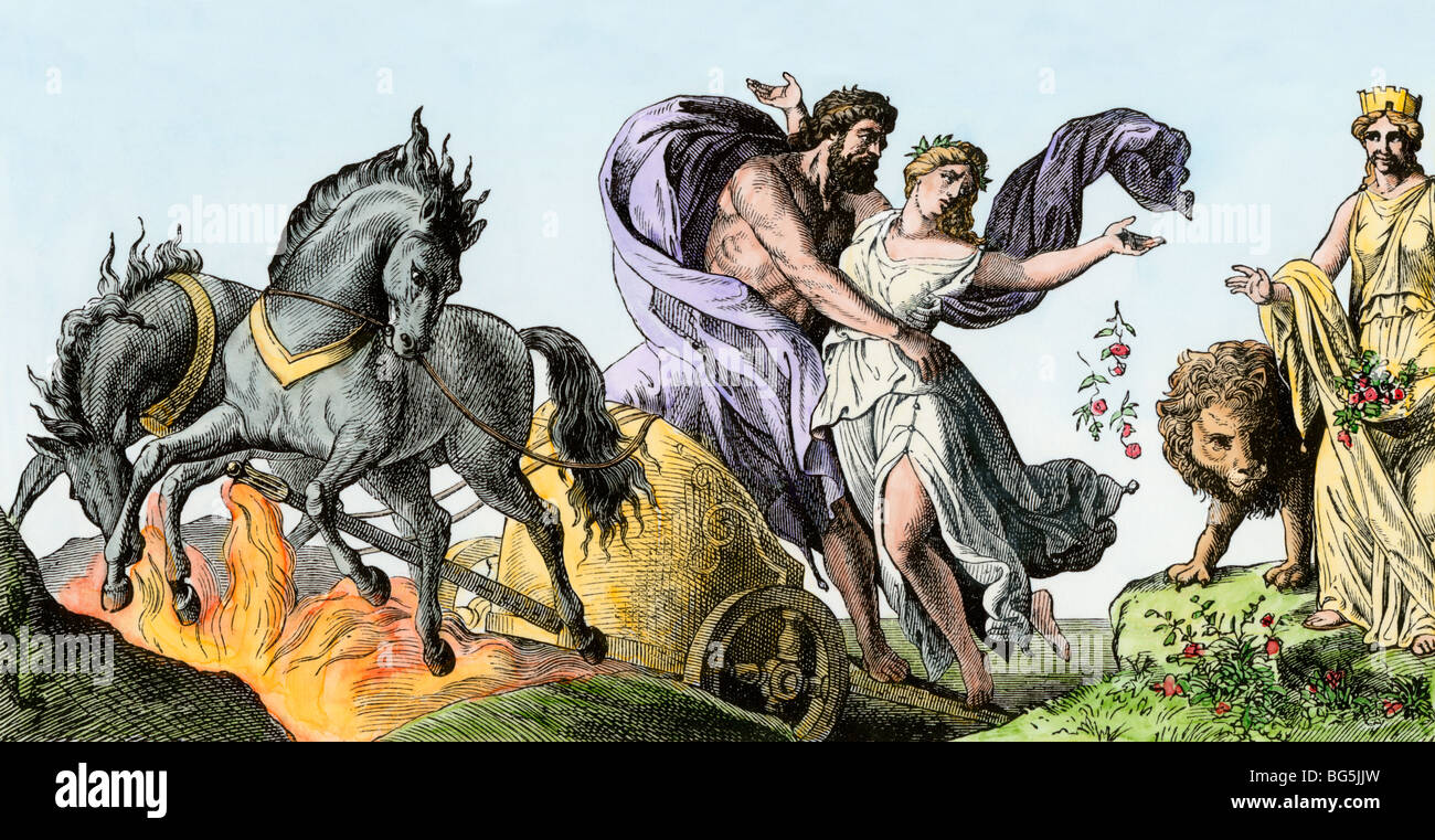 Pluto carries off Persephone to his kingdom, the underworld, in Greek mythology - Stock Image