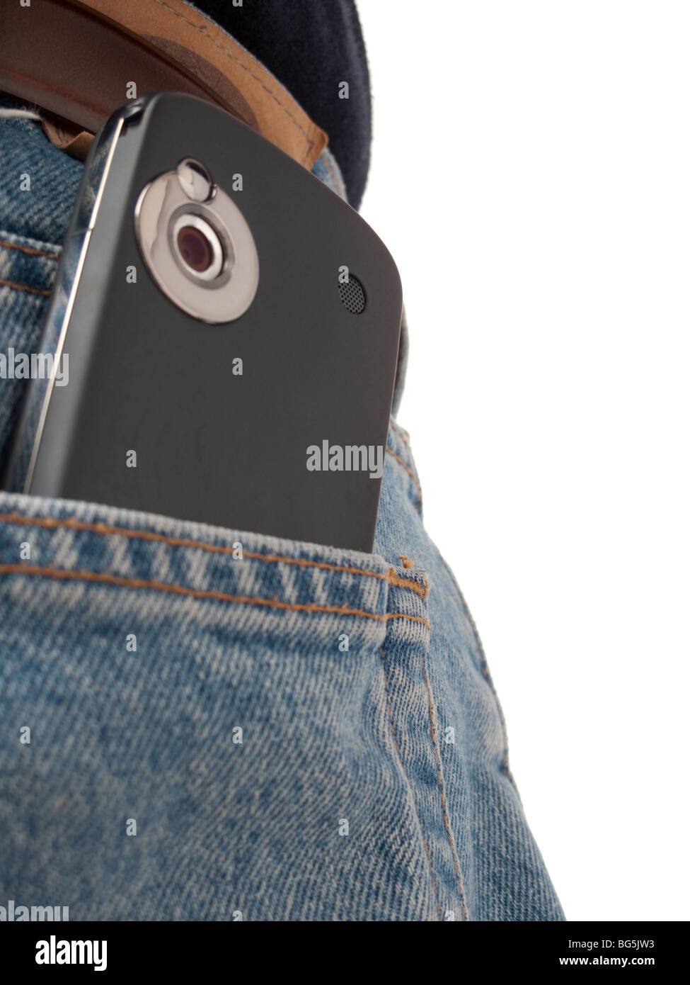 A PDA (Windows Mobile device) in a back pocket of an IT worker, wearing jeans, shot from behind, with back pocket - Stock Image