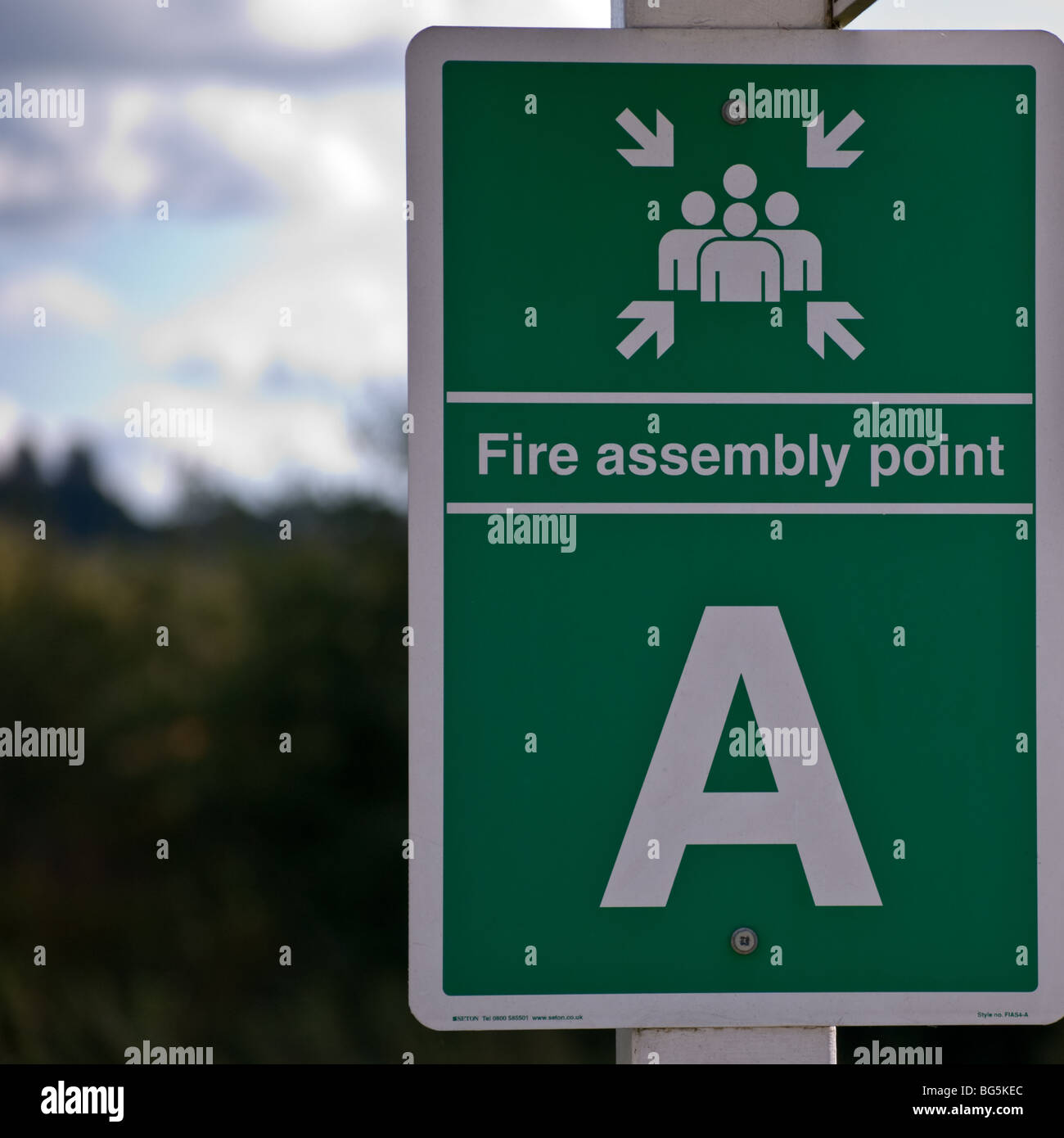 Outside fire assembly point notice - Stock Image