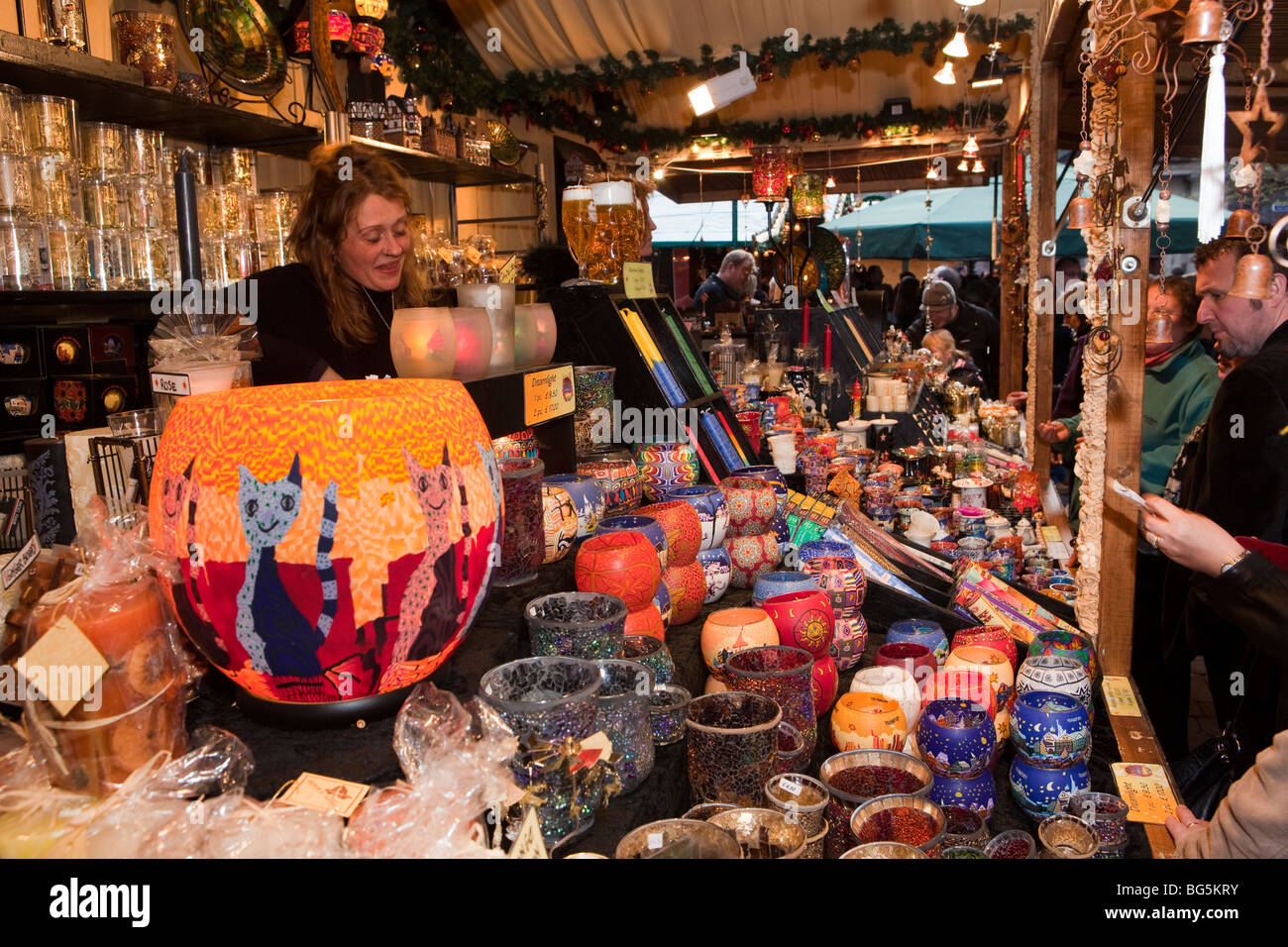 UK, England, Manchester, St Annes Square Christmas Market, traditional colourful German glassware for sale - Stock Image