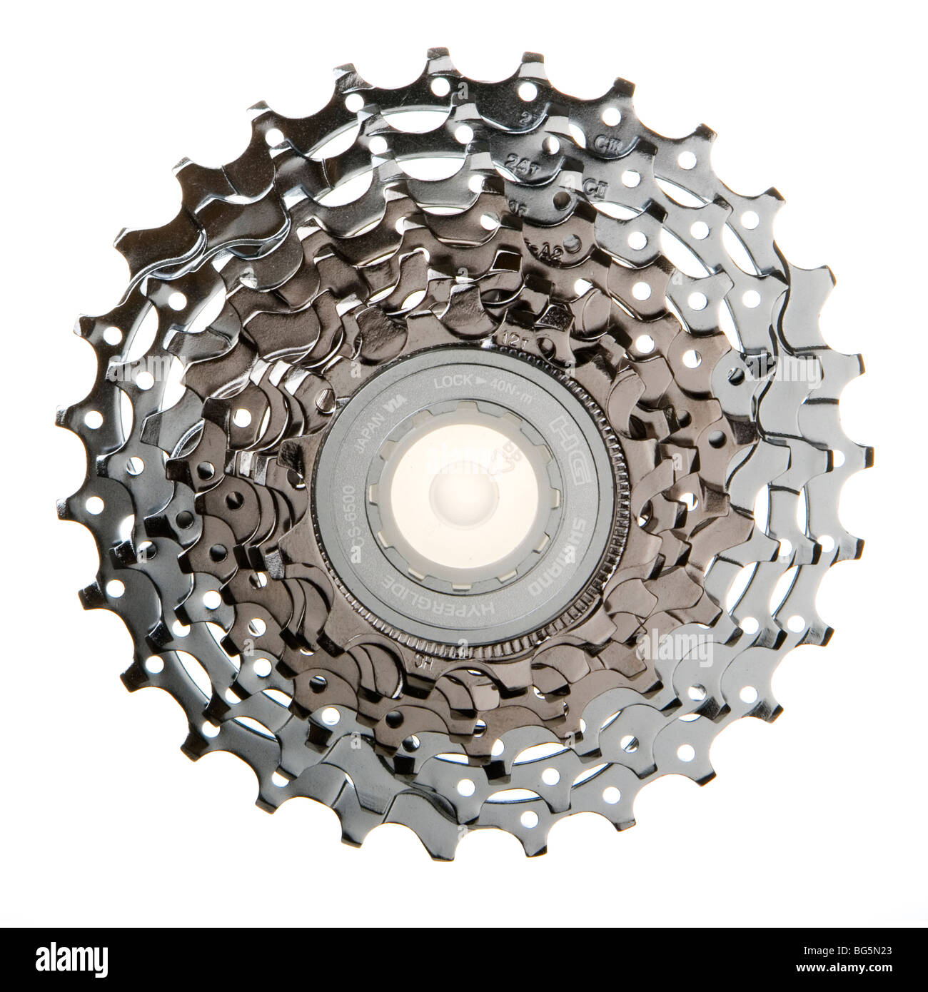 9-speed cassette from a road bike Stock Photo