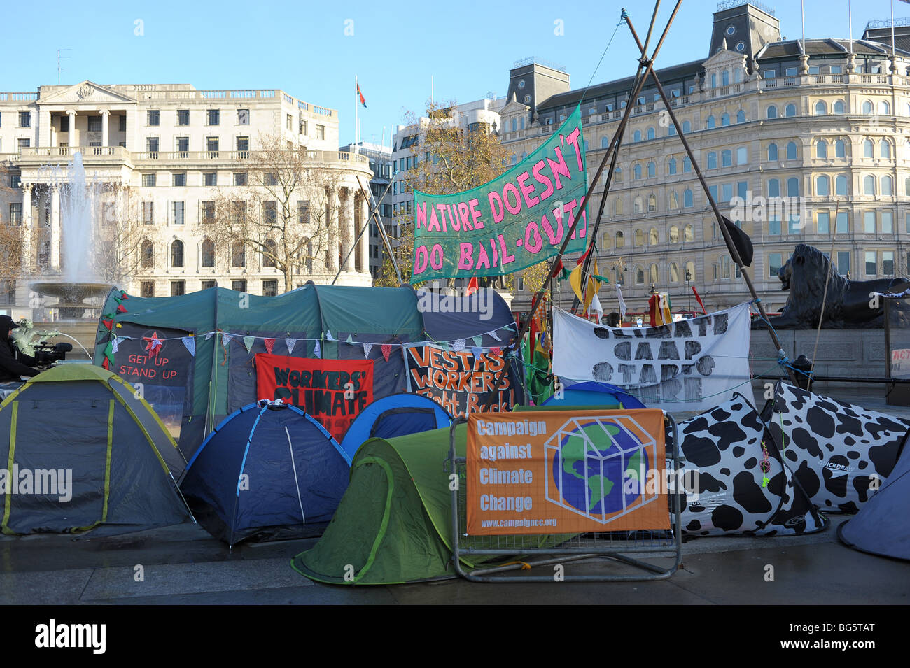 Climate Change Camp in Trafalgar Square, London Stock Photo
