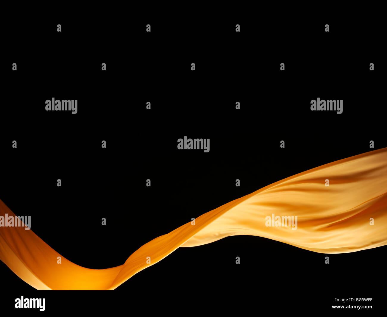 Orange silk wave, Wave of fabric - Stock Image