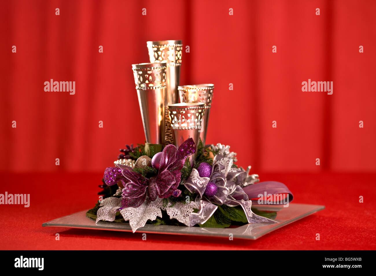 Modern Advent wreath - Stock Image